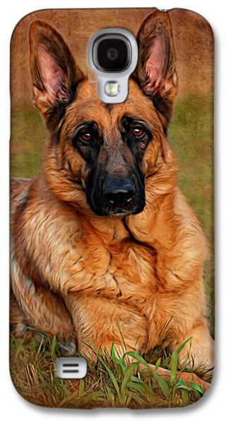 Canines Digital Galaxy S4 Cases - German Shepherd Dog Portrait  Galaxy S4 Case by Angie Tirado