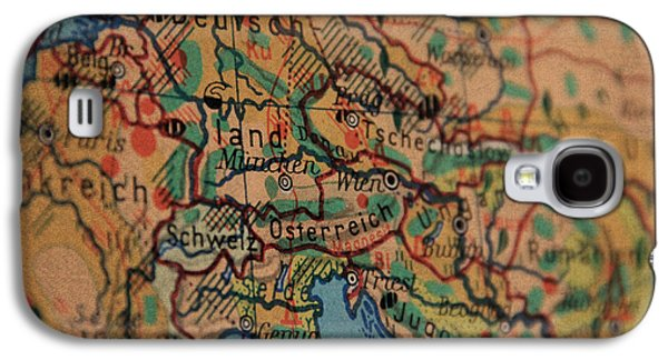 German Vintage Map Of Central Europe From Old Globe Galaxy S4 Case by Design Turnpike