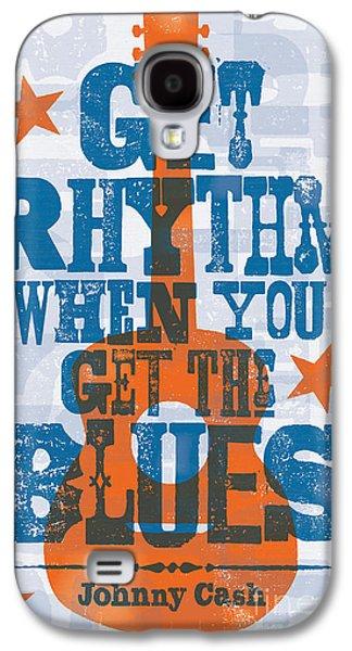 Get Rhythm - Johnny Cash Lyric Poster Galaxy S4 Case