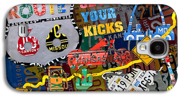 Get Your Kicks On Route 66 Icons Along The Highway Recycled Vintage License Plate Art Galaxy S4 Case