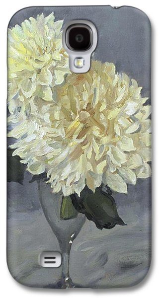 Giant White Dahlias In Wine Glass Galaxy S4 Case