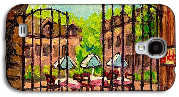 Quebec Streets Paintings Galaxy S4 Cases - Gibbys Restaurant In Old Montreal Galaxy S4 Case by Carole Spandau