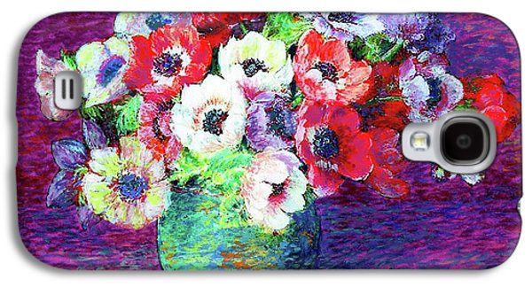 Gift Of Flowers, Red, Blue And White Anemone Poppies Galaxy S4 Case by Jane Small