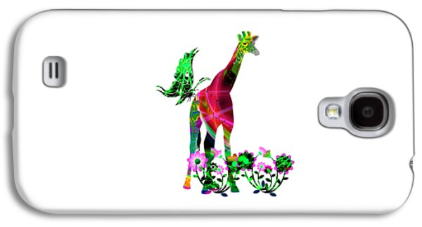 Abstracts Galaxy S4 Cases - Giraffe and flowers3 Galaxy S4 Case by EricaMaxine  Price
