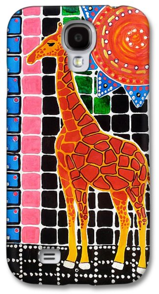 Galaxy S4 Case featuring the painting Giraffe In The Bathroom - Art By Dora Hathazi Mendes by Dora Hathazi Mendes