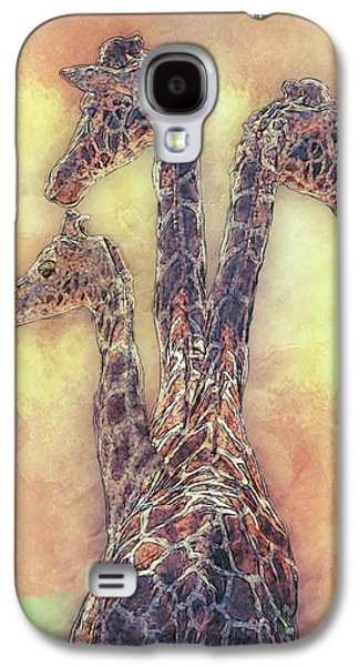 Giraffe-three In A Row Galaxy S4 Case by Jack Zulli