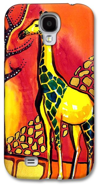 Galaxy S4 Case featuring the painting Giraffe With Fire  by Dora Hathazi Mendes