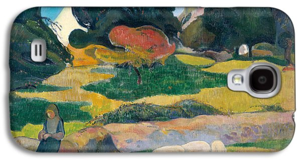 Girl Herding Pigs Galaxy S4 Case by Paul Gauguin