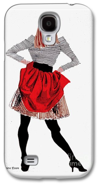 Girl In Red Skirt Galaxy S4 Case by Genevieve Esson
