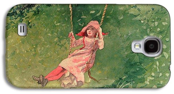 Girl On A Swing Galaxy S4 Case by Winslow Homer