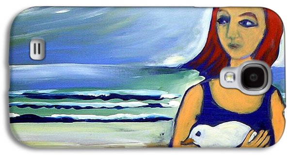 Galaxy S4 Case featuring the painting Girl With Bird by Winsome Gunning