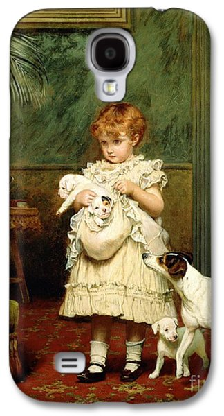 Girl With Dogs Galaxy S4 Case by Charles Burton Barber