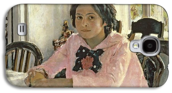 Chair Galaxy S4 Cases - Girl with Peaches Galaxy S4 Case by Valentin Aleksandrovich Serov