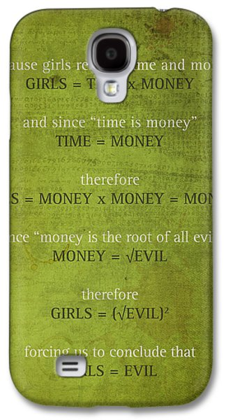 Girls Are Evil Proof Formula Math Humor Nerd Art Poster Galaxy S4 Case by Design Turnpike