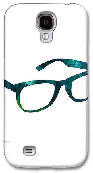 Glasses Silhouette  Watercolor Art Print Poster Galaxy S4 Case by Joanna Szmerdt