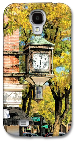 Galaxy S4 Case featuring the painting Glen Ellyn Corner Clock by Christopher Arndt