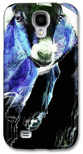 Goat Pop Art - Blue - Sharon Cummings Galaxy S4 Case by Sharon Cummings