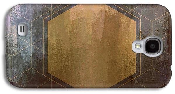 Gold And Purple Hexagon Galaxy S4 Case by Brandi Fitzgerald