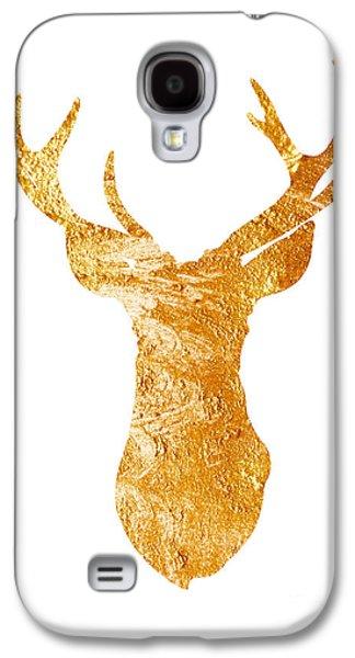 Gold Deer Silhouette Watercolor Art Print Galaxy S4 Case by Joanna Szmerdt