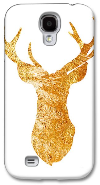 Gold Deer Silhouette Watercolor Art Print Galaxy S4 Case by Joanna Szmerdt