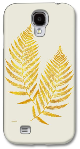 Galaxy S4 Case featuring the mixed media Gold Fern Leaf Art by Christina Rollo