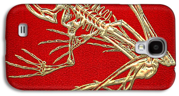 Design Galaxy S4 Case - Gold Frog Skeleton On Red Leather by Serge Averbukh