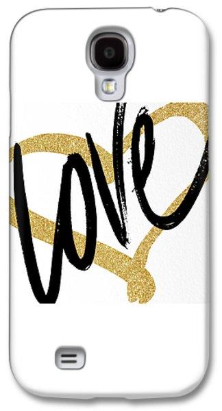 Gold Heart Black Script Love Galaxy S4 Case by South Social Studio