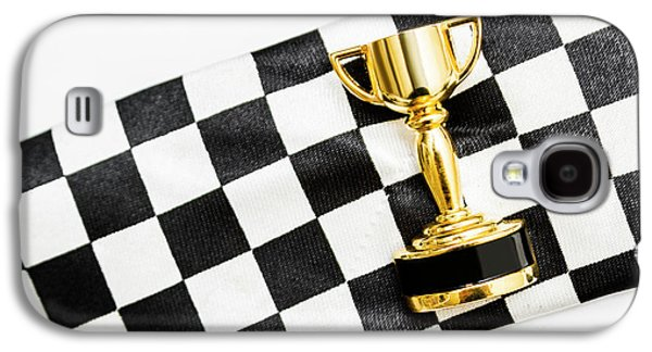 Gold Trophy On A Checked Sport Flag Galaxy S4 Case by Jorgo Photography - Wall Art Gallery