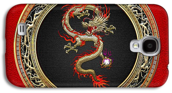 Golden Chinese Dragon Fucanglong On Red Leather  Galaxy S4 Case by Serge Averbukh