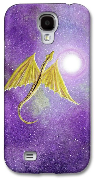 Golden Dragon Soaring In Purple Cosmos Galaxy S4 Case by Laura Iverson