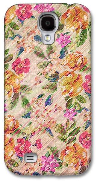 Golden Flitch Digital Vintage Retro  Glitched Pastel Flowers  Floral Design Pattern Galaxy S4 Case by Philipp Rietz