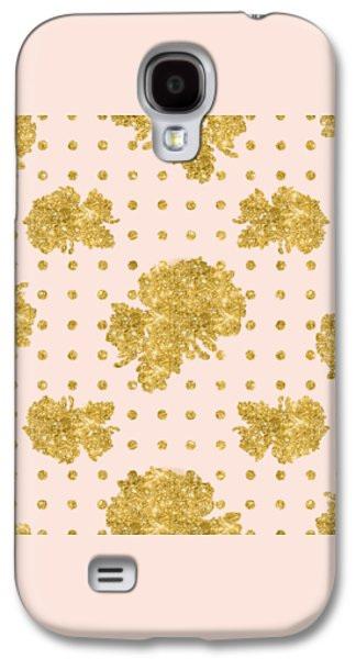 Golden Gold Blush Pink Floral Rose Cluster W Dot Bedding Home Decor Galaxy S4 Case by Audrey Jeanne Roberts