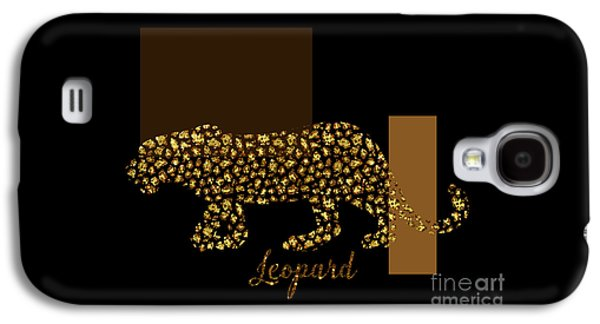 Golden Leopard Modern Gilt Wild Cat, Gold Black Brown Galaxy S4 Case