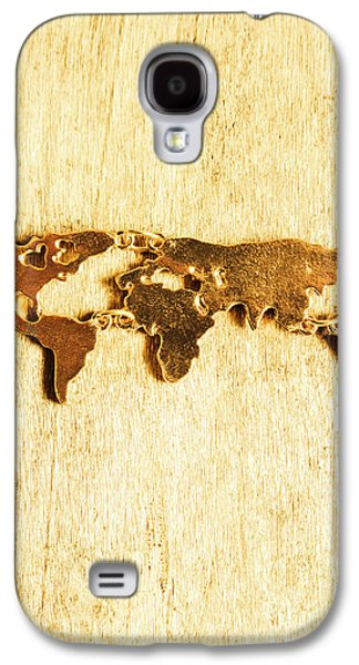 Golden World Continents Galaxy S4 Case by Jorgo Photography - Wall Art Gallery