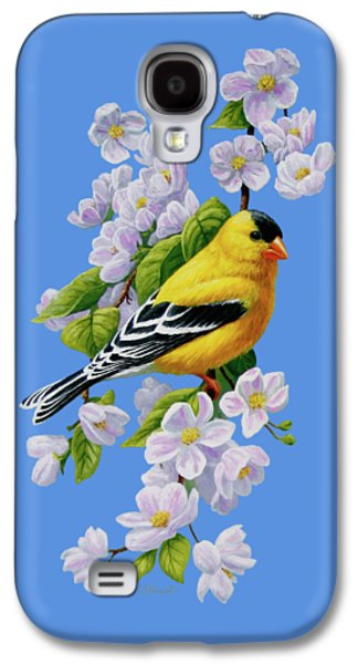 Goldfinch Blossoms Greeting Card 1 Galaxy S4 Case by Crista Forest