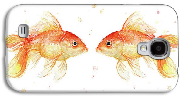Goldfish Love Watercolor Galaxy S4 Case by Olga Shvartsur