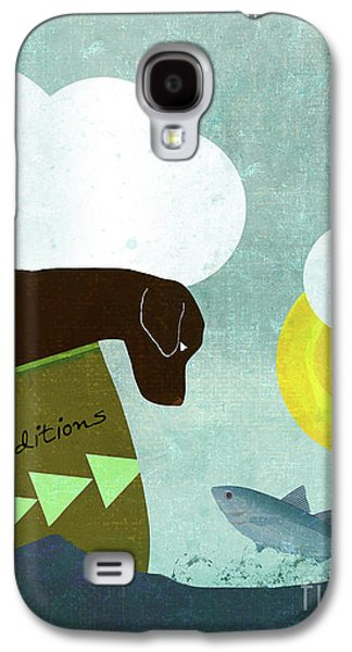Good Dog Expeditions, Dog On A Lake Meeting A Fish Galaxy S4 Case by Tina Lavoie