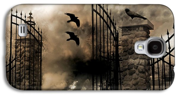 Gothic Surreal Fantasy Ravens Gated Fence  Galaxy S4 Case by Kathy Fornal
