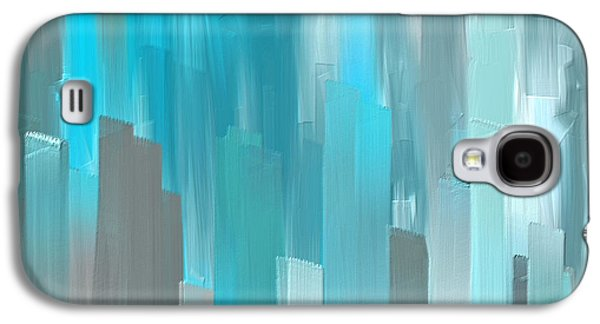 Blue Abstracts Galaxy S4 Cases - Gray And Teal Abstract Art Galaxy S4 Case by Lourry Legarde
