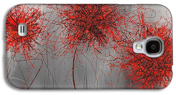 Grayish Vibrant Blooms- Red And Gray Modern Art Galaxy S4 Case by Lourry Legarde
