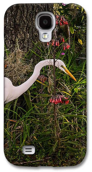 Egret Galaxy S4 Case - Great Egret In The Garden by Zina Stromberg