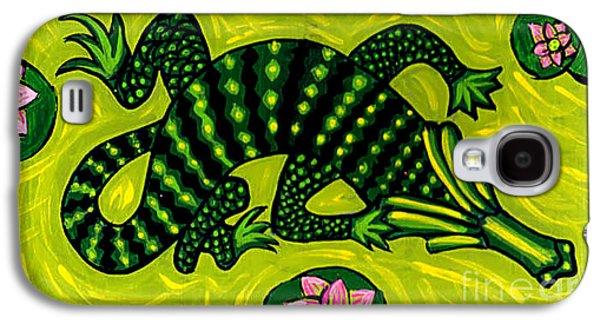 Green Alligator Galaxy S4 Case by Genevieve Esson