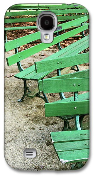 Green Benches- Fine Art Photo By Linda Woods Galaxy S4 Case by Linda Woods