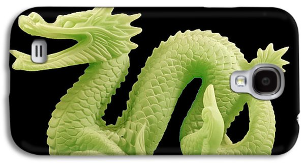 Galaxy S4 Case featuring the photograph Green Dragon On Black by Bill Barber