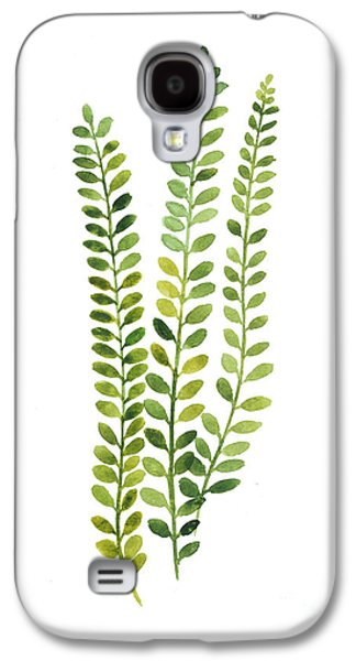 Green Fern Watercolor Minimalist Painting Galaxy S4 Case by Joanna Szmerdt