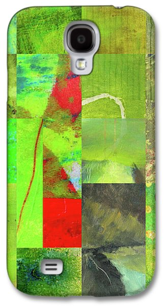 Galaxy S4 Case featuring the digital art Green Grid by Nancy Merkle
