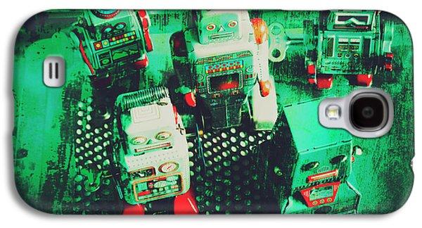 Green Grunge Comic Robots Galaxy S4 Case by Jorgo Photography - Wall Art Gallery