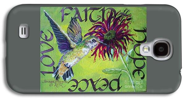 Green Hummingbird Faith, Hope, Peace, Love Galaxy S4 Case by Teresa Marie Staal Cowley