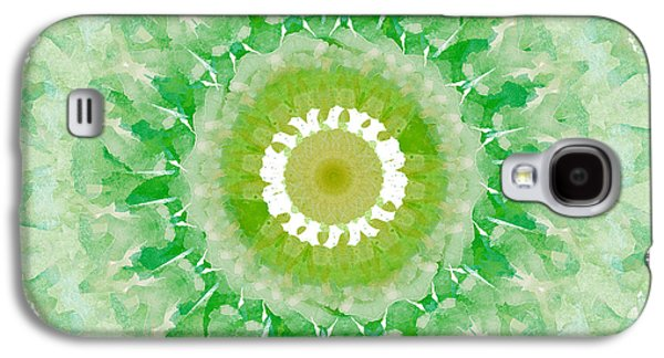 Green Mandala- Abstract Art By Linda Woods Galaxy S4 Case by Linda Woods