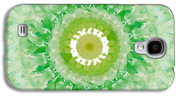 Green Mandala- Abstract Art By Linda Woods Galaxy S4 Case by Linda Woods